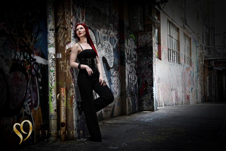 Alternative glamour portrait on location in Wellington.