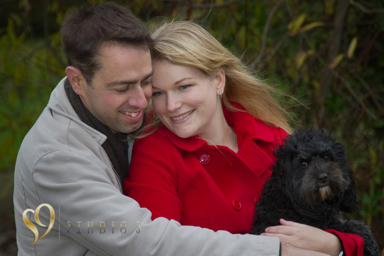 Engaged couple and their dog, Wellington portraits.