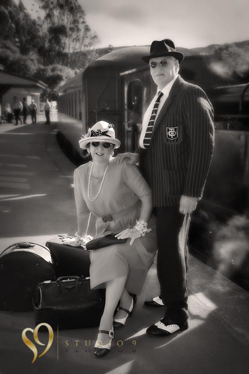 Art Deco portraits at Silverstream train station.