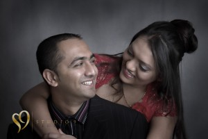 Couple photography photo shoot in the studio.
