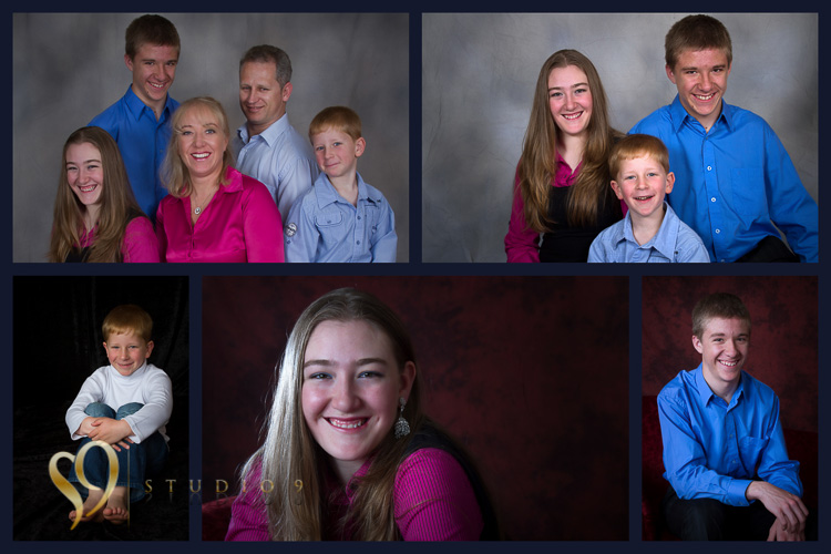 Family portraits put together in multi-print collage.
