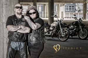 Wellington carpark with biker couple.