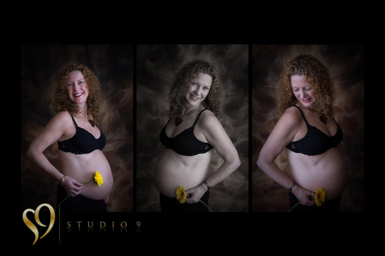 Multi-print display of pregnancy photo shoot.